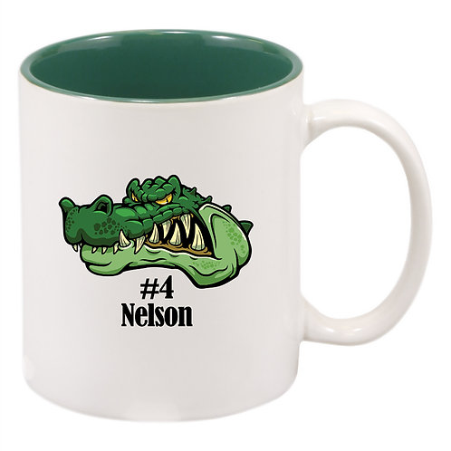 11 oz. White/Green Sublimatable Ceramic Mug