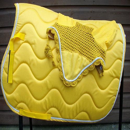 Yellow Wave Saddle Cloth + Veil Set