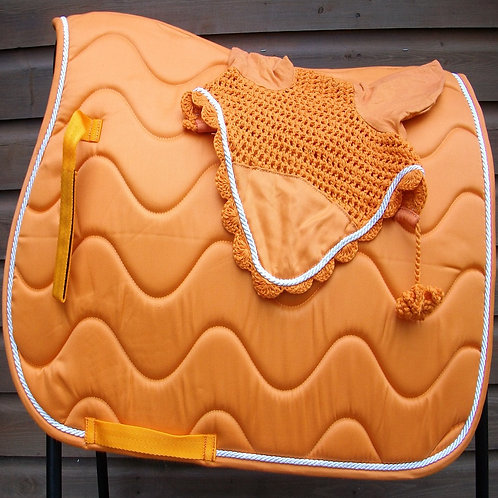 Orange Wave Saddle Cloth + Veil Set