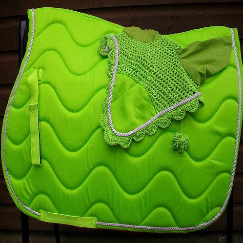 Green Wave Saddle Cloth + Veil Set