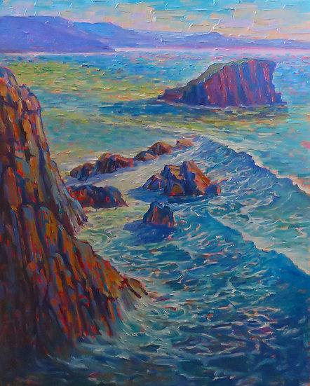 """""""Kiama Headland and the Stack Island"""" By Salwa Woodroffe"""