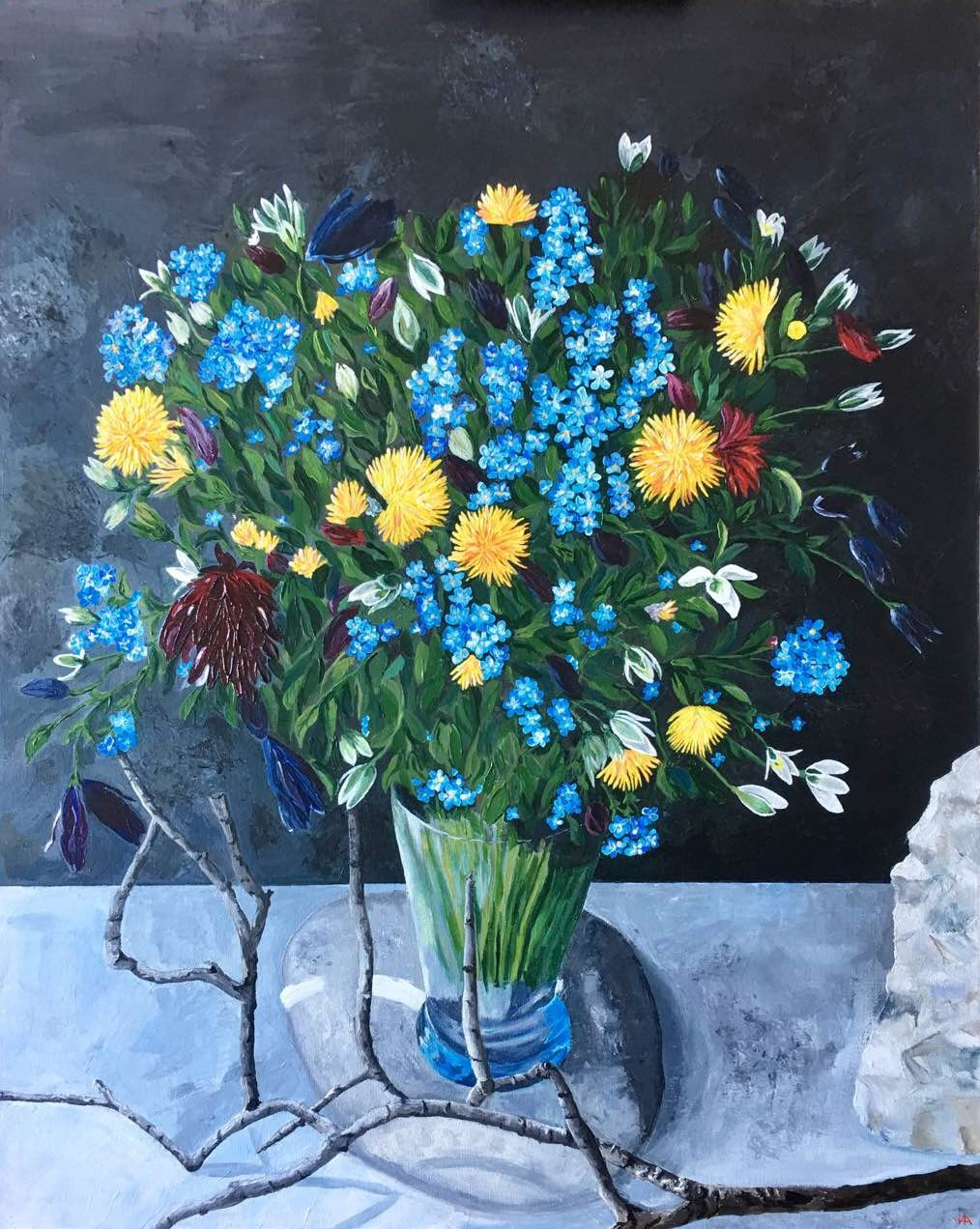 Flowers on the Rock, 61x76x3,  mix med.J