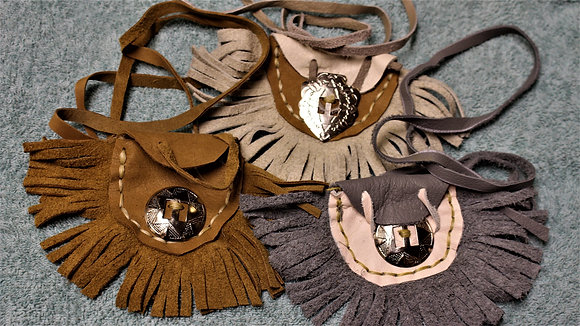 Small Native American Hand Crafted Leather Medicine Bags/Pouches