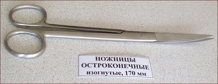 Ножницы остроконечные, изогнутые, 170 мм