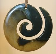 Greenstone Pounamu Koru Necklace | Specialists in Maori wood carving and Pounamu New Zealand Greenstone | Kiwa Art  | Parnell, Auckland