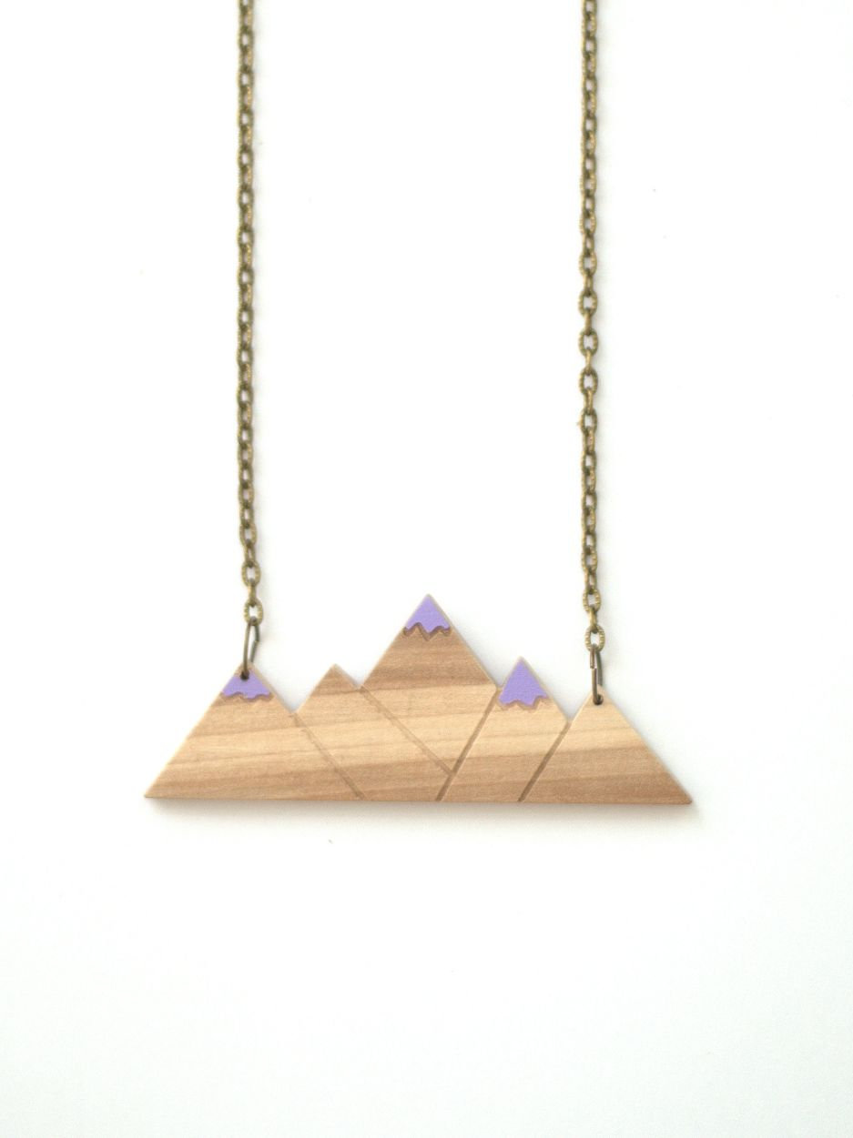 acb9171fc5474 Wooden mountains necklace/ purple