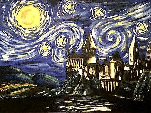 Starry Hogwarts Night canvas