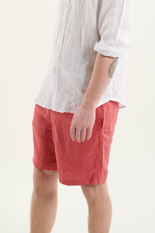 ODYSSEY linen shorts - coral