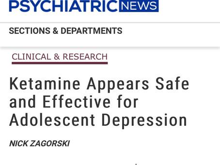 Ketamine safe for adolescent depression