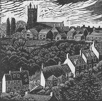 Gold Hill, Shaftesbury limited edition wood engraving