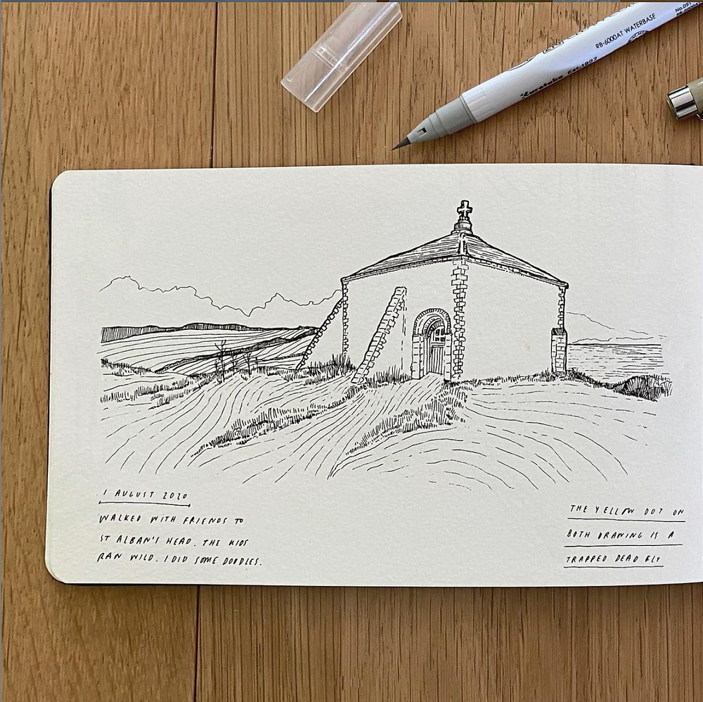 A fine liner sketch by Laurie King of the chapel at St Aldhelm's Head, on Dorset's Jurassic Coast