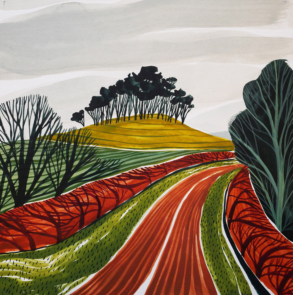 A painting by Jessamy Hawke of a clump of trees on a hill near Middlebere, Dorset, with ploughed fields in the foreground