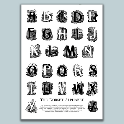The 'A to Z' of Dorset - signed print