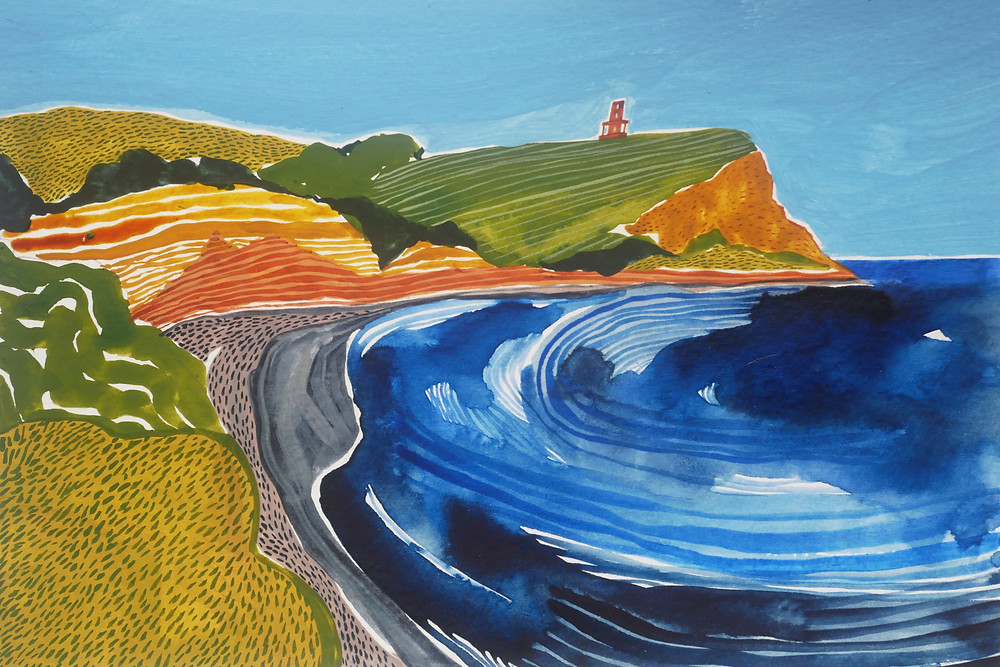 Painting of Kimmeridge Bay by artist Jessamy Hawke. Clavell Tower can be seen on the cliff.