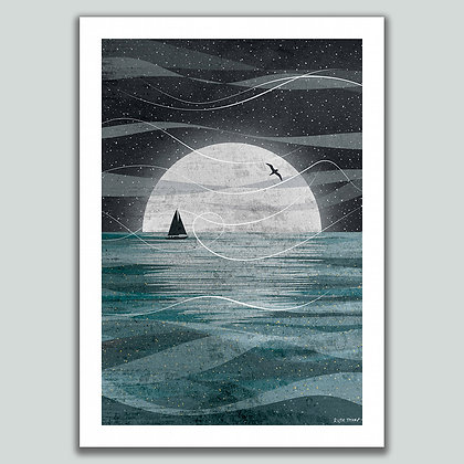 Sail on the Moon A4 print