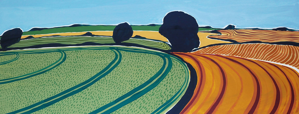 A Jessamy Hawke painting of the Dorset landscape showing plough lines in the fields and trees at intervals