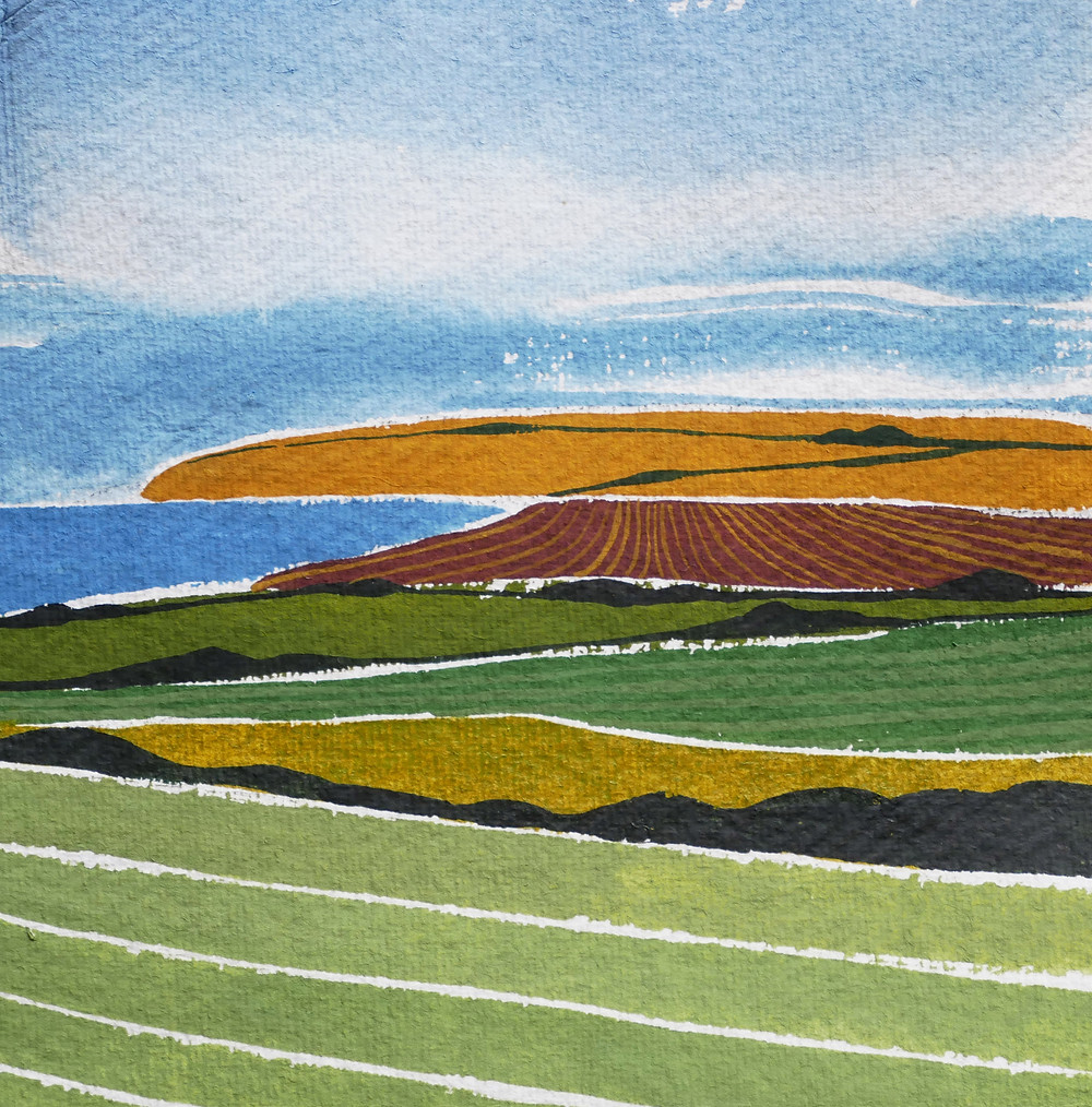 A painting by Jessamy Hawke of the view across the ploughed fields to Kimmeridge Bay in Dorset
