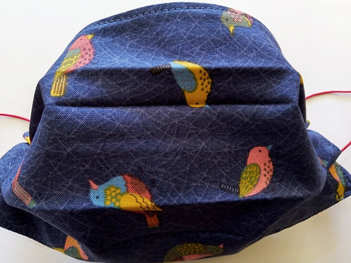 Garden birds, Facemask,Fabric mask, Washable, TRIPLE LAYER