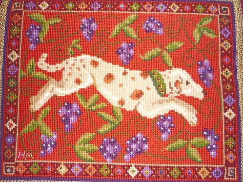Spotted Dog Tapestry cushion Kit, Charted Needlepoint Animal Fayre Designs