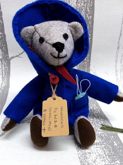 Grizzle the Grey Bear, The Lockdown Bears Handmade by Liza