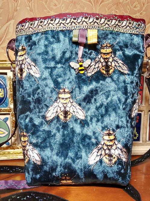 Teal Velvet Bee Small Cross Body Bag