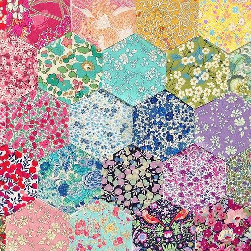Alice Caroline Liberty Rainbow Hexagon Patchwork Cushion Kit