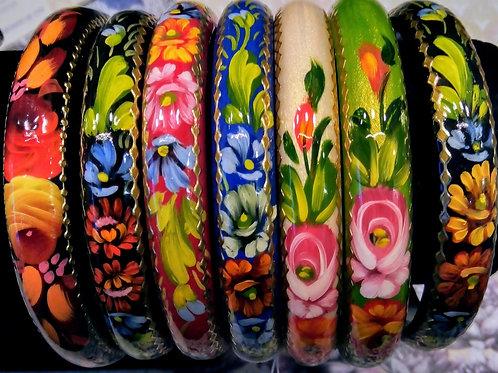 Floral Bracelet, Wooden Bracelet, Hand painted Bracelet