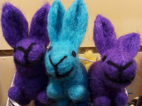 Purple Felt Bunny Hanging Decoration, Easter, Fair Trade, Made in Nepal