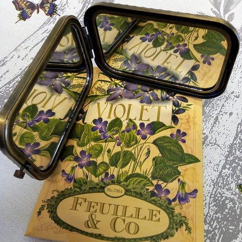 Violet Compact Mirror, Vintage Seed Packet Style, House of Disaster