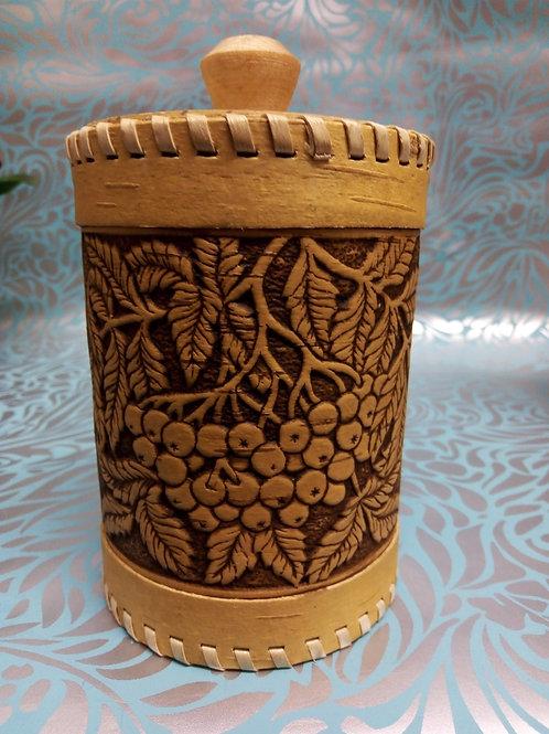 Berries Birch Bark Canister, Birch Bark Box, Handmade Siberian Craft
