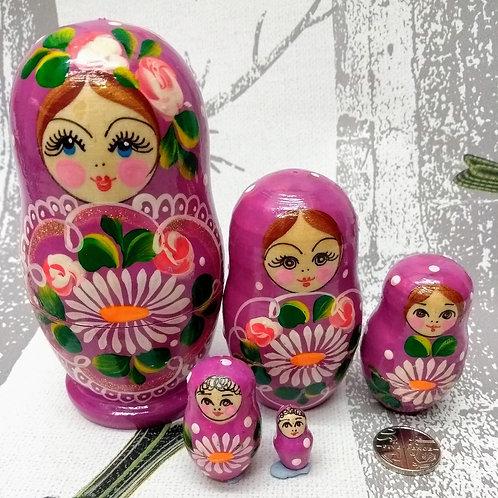 Handmade Pink Daisy Russian Matryoshka Dolls - set of five