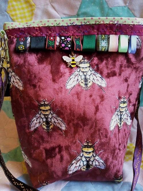 Red and Plum Velvet Bee Small Cross Body Bag