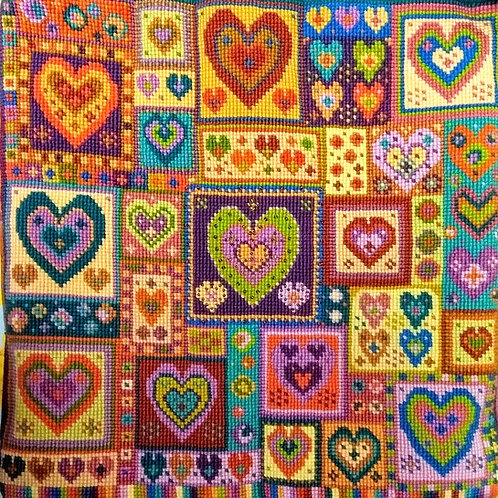 Heart Tapestry Cushion Kit, Needlepoint Heart Kit, Little Hearts Patchwork