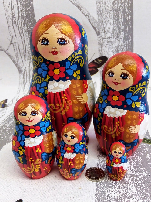 Blue, Red and Ochre, Floral Russian Matryoshka Doll
