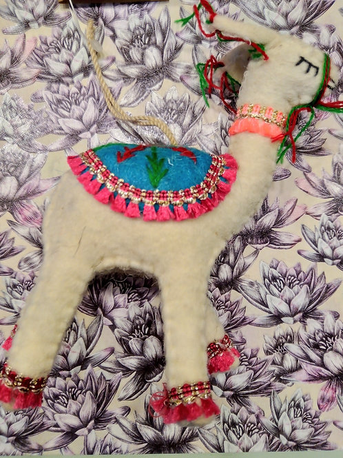 White Felt Llama Hanging Decoration, Fair Trade, Made in Nepal