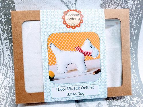 White Dog, Corinne Lapierre Felt Kit, Craft kit