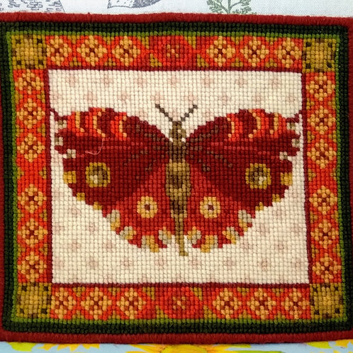 Red Butterfly Tapestry Kit, Red Butterfly Tapestry Cushion Kit, Charted
