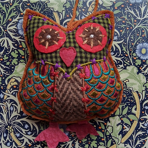Brown Check and Tweed Owl Hanging Decoration, Fair Trade,