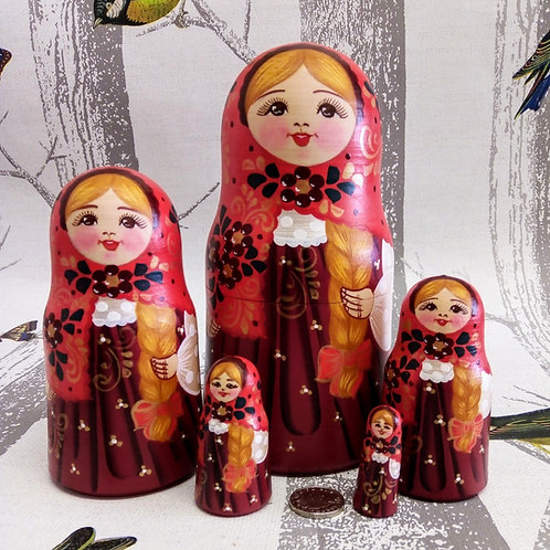 Pink and Plum, Floral Russian Matryoshka Doll