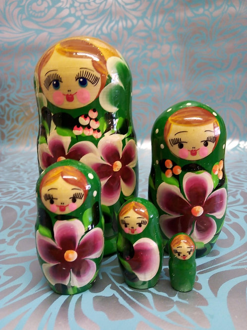Green Matryshka Dolls, Five Set Russian Floral Dolls