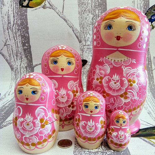Pale Pink Five Set Doll, Floral Russian Matryoshka Doll