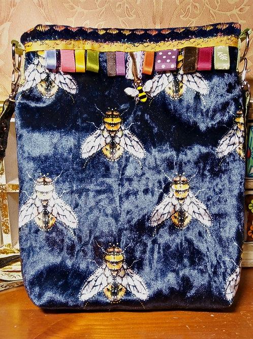 Navy Velvet Bee Small Cross Body Bag