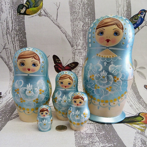 Pale Blue Five Set Doll, Floral Russian Matryoshka Doll