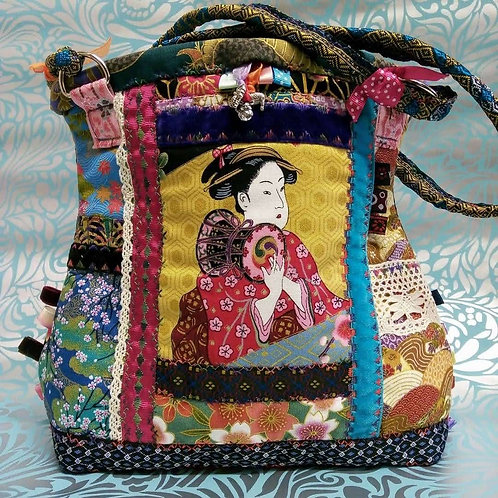 Japanese Fabric Bag, Geisha,, Quirky, Unique, Embroidered Bag