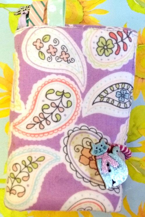 Lilac Paisley Tea Wallet, Fold-up Wallet, Fabric Organiser