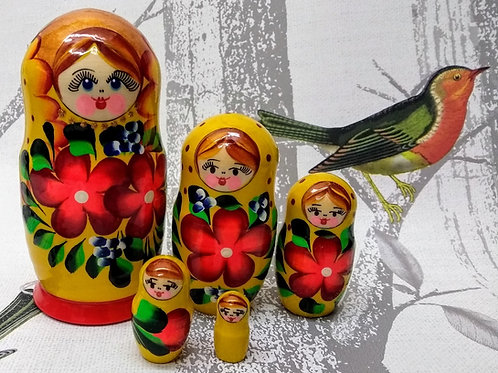 Hand Made Yellow Floral Russian Matryoshka Dolls - set of 5