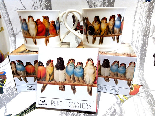 Two 'PERCH' Mugs and Coasters, Bird mugs, Vegan, Microwave and Dishwasher safe.