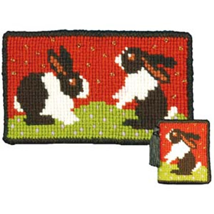 Dutch Rabbits Tapestry Needle case Kit, Charted Rabbits Needlepoint Kit