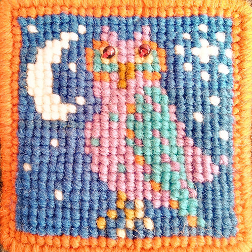 Owl Tapestry Mini-kit, Owl Tapestry Pincushion Kit, Gift, Quick and Easy