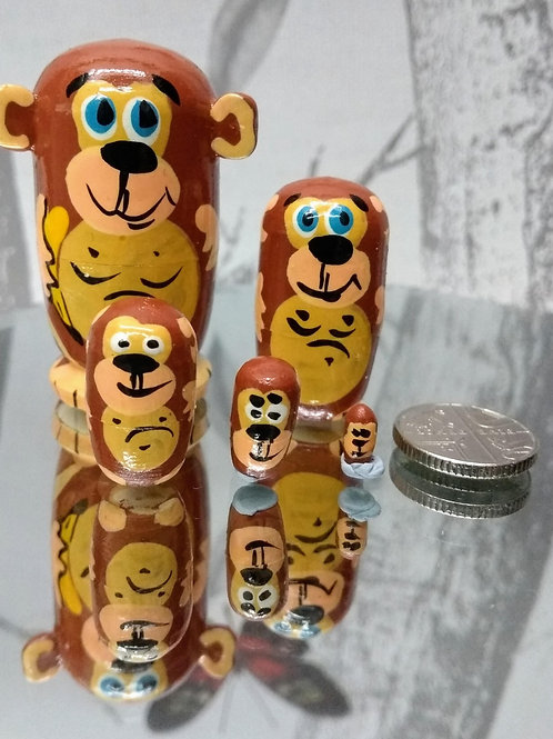 Hand Made Monkey Russian Dolls - set of 5